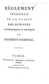 Réglement intérieur de la Classe des Sciences