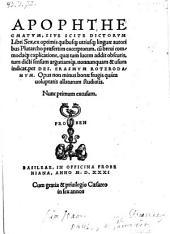 Apophthegmatum sive scite dictorum libri sex ex optimis autoribus excerptorum cum explicatione