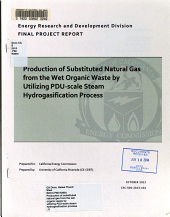 Production of Substituted Natural Gas from the Wet Organic Waste by Utilizing PDU-scale Steam Hydrogasification Process