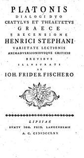 Platonis Dialogi duo Cratylus et Theaetetus