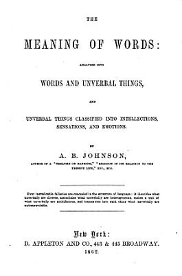 The Meaning of Words Analysed Into Words and Unverbal Things PDF