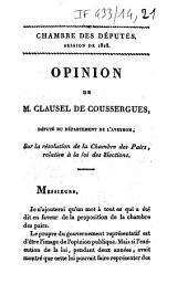 Chambre des députés. Session de 1818. Opinion de M. Clausel de Coussergues,... sur la résolution de la Chambre des pairs, relative à la loi des élections