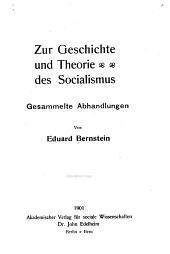 Zur Geschichte und Theorie des Socialismus: gesammelte Abhandlungen