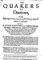 The Quakers No Deceivers     Being a Brief Return to a Pamphlet  Intituled  The Quakers Proved Deceivers     by John Horne  Etc PDF