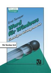 Word für Windows 2.0: Einsteigen leichtgemacht