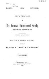 Proceedings of the American Microscopical Society: Volume 14