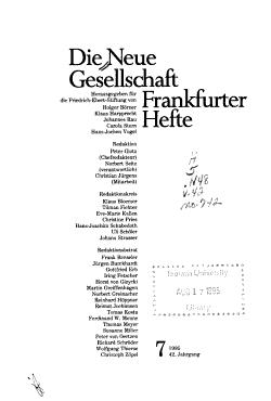Die Neue Gesellschaft  Frankfurter Hefte PDF