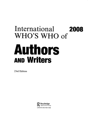 International Who s who of Authors and Writers