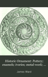 Pottery; enamels; ivories; metal-work; furniture; textile fabrics; mosaics; glass; and book decoration