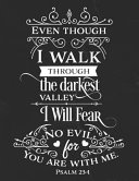 Even Though I Walk Through the Darkest Valley I Will Fear No Evil for You Are with Me. Psalm 23