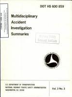 Multidisciplinary Accident Investigation Summaries  Volume 3  NO  3 PDF