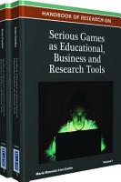 Handbook of Research on Serious Games as Educational  Business and Research Tools PDF
