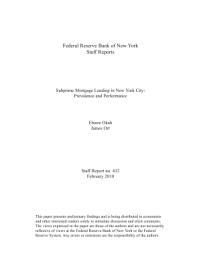 Subprime Mortgage Lending in New York City