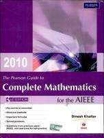 The Pearson Guide to Complete Mathematics for AIEEE  3 e  New Edition  PDF