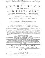 An Exposition of the Whole Old Testament  Critical  Doctrinal  and Practical PDF
