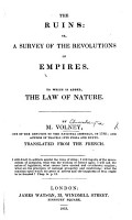 The Ruins     Fifth edition   The Law of Nature  or  principles of morality     Translated from the French   PDF