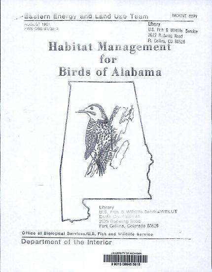 Habitat Management for Birds of Alabama PDF