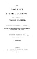 The Poor Man s Evening Portion     Fourth edition  corrected by the author PDF