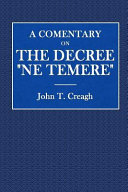 A Commentary on the Decree Ne Temere
