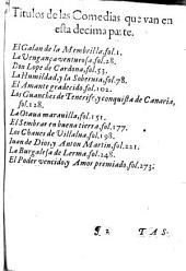 Décima parte de las comedias de Lope de Vega Carpio...