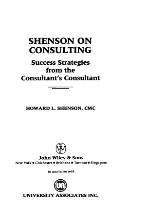 Shenson on Consulting