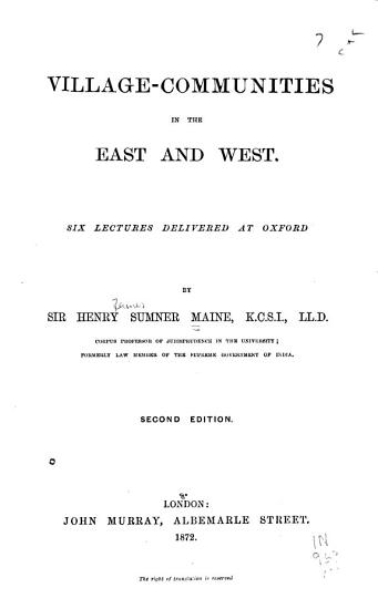 Village communities in the East and West PDF