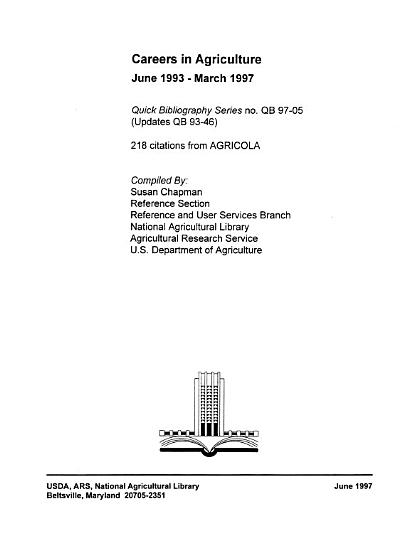 Quick Bibliography Series 97 05  Careers In Agriculture  June 1993 March 1997  June 1997 PDF