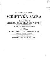 Disp. prima de scriptura sacra