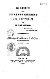 De l'Étude et de l'enseignement des lettres