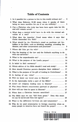 Your Questions Answered form the Bible