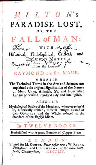 Milton s Paradise Lost  Or  The Fall of Man PDF