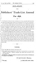 THE PUBLISHERS' WEEKLY A JOURNAL SPECIALLY REVOTED TO THE INTERESTS OF THE BOOK AND STATIONERY TRADE