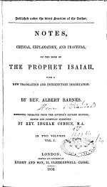 Notes, Critical, Explanatory and Practical, on the Book of the Prophet Isaiah