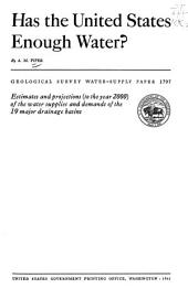 Has the United States Enough Water?: Issue 1797