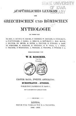Ausf  hrliches Lexicon der griechischen und r  mischen Mythologie PDF