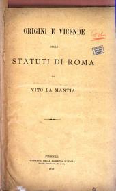 Origini e vicende degli statuti di Roma