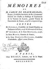 Mémoires de M. Caron de Beaumarchais ... accusé de corruption de juge: contre M. Goëzman ... accusé de subornation & de faux, Mme. Goézman, & le sieur Bertrand, accusés, Le Sieur Marin ... & Le Sieur Darnaud-Baculard ... assignés comme Témoins, Volumes1à6