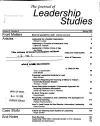 The Journal of Leadership Studies