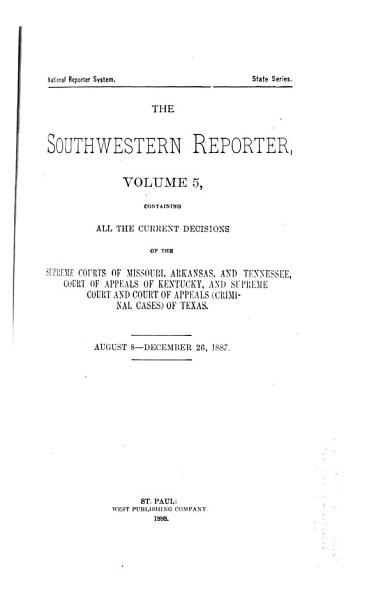 Download The Southwestern Reporter Book