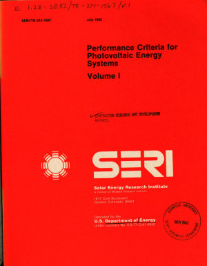 Performance Criteria for Photovoltaic Energy Systems PDF