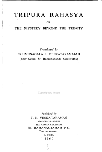 Tripura Rahasya  Or  The Mystery Beyond the Trinity PDF