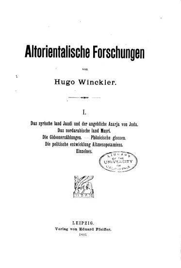 Altorientalische Forschungen PDF