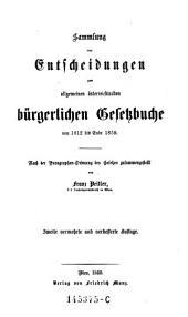 Sammlung von Entscheidungen zum bürgerlichen Gesetzbuche 1812-1859. 2. verm. Aufl