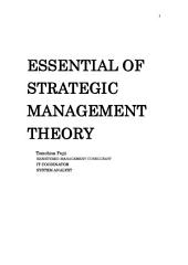 ESSENTIAL OF STRATEGIC MANAGEMENT THEORY v series