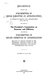Hearings Before a Subcommittee of the Committee on Appropriations, House of Representatives