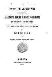 Fatti ed argomenti in risposta alle molte parole di Vincenzo Gioberti intorno ai Gesuiti nei prolegomeni del primato