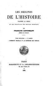 Les Origines de L'Histoire: Volume2,Partie1