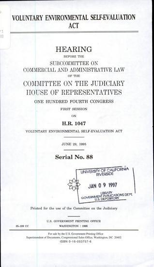 Voluntary Environmental Self Evaluation Act PDF