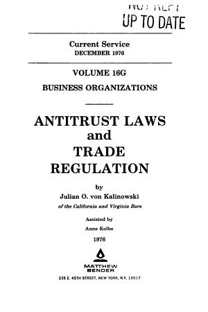 Antitrust Laws and Trade Regulation PDF