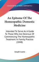 An Epitome of the Homeopathic Domestic Medicine PDF